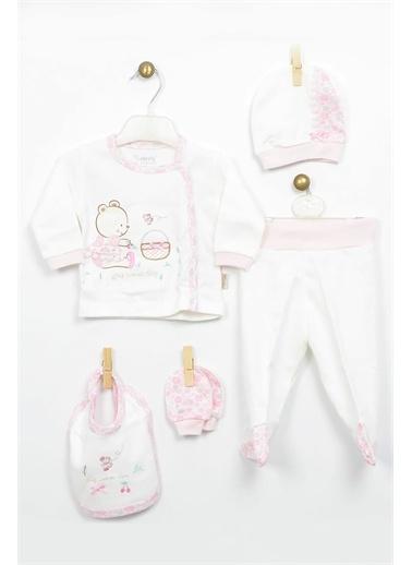 Bebbek Bebbek Picnic Day Kız Bebek 5'Li Hastane Çıkışı Zıbın Seti T-783 Kırmızı